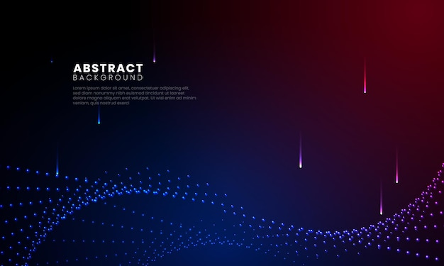 Particelle vorticose e riflettori sullo sfondo digitale moderno