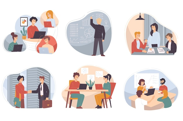 Riunione dei partner per discutere problemi aziendali e modalità di sviluppo. corsi e interazione con i colleghi di lavoro. presentare idee innovative per il successo dell'organizzazione. vettore in stile piatto