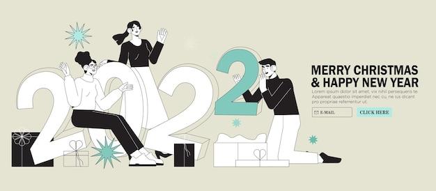I partner o gli impiegati degli uffici festeggiano insieme il natale o il capodanno