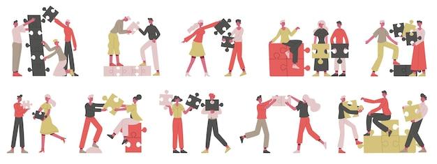 Insieme dell'illustrazione del concetto di business di partnership