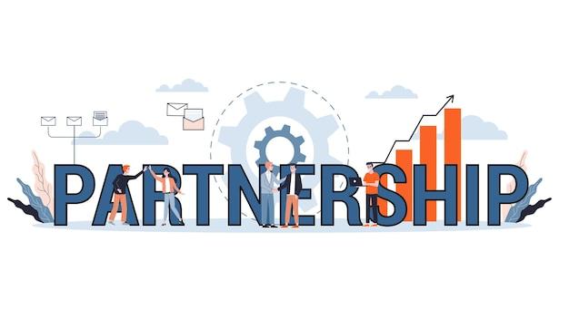 Illustrazione del concetto di partenariato. idea di azienda, collaborazione e successo. illustrazione in stile cartone animato