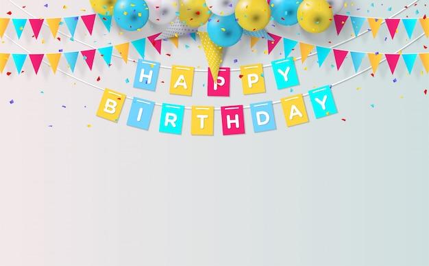 Sfondo festa con palloncini e bandiere di compleanno su grigio
