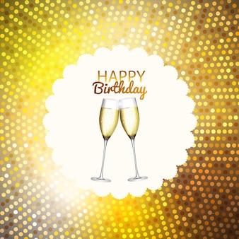 Sfondo festa con bandiere e bicchieri di champagne. illustrazione vettoriale