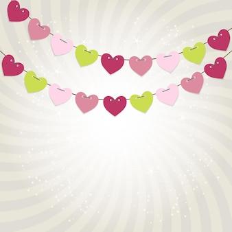 Sfondo di festa con illustrazione vettoriale di bandiere a forma di cuore