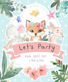 Modello di biglietto per feste con simpatici animali e illustrazione di fiori colorati