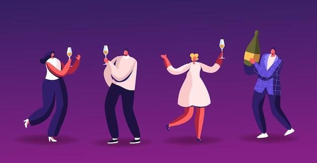 Celebrazione del partito, persone con bicchieri di champagne e balli