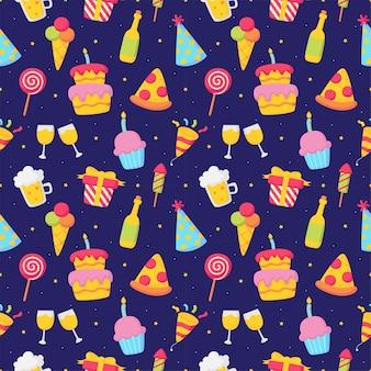 Elementi festivi di carnevale delle icone di compleanno del modello senza cuciture di celebrazione del partito su fondo blu
