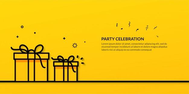 Celebrazione del partito con illustrazione di contorno del contenitore di regalo