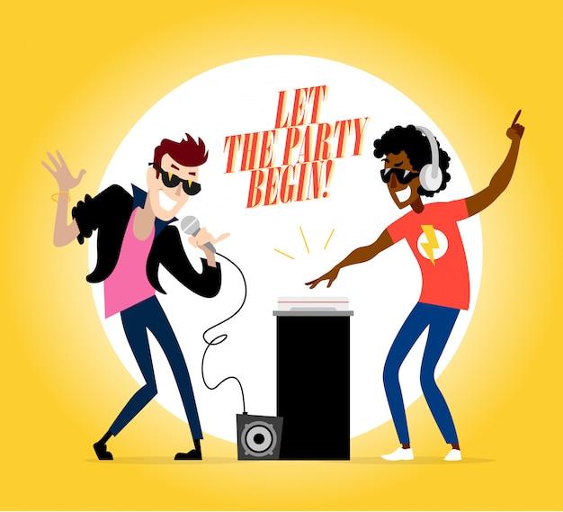 Personaggi della festa: dj e cantante. illustrazione.