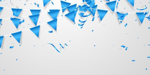 Partito palloncini di colore blu coriandoli concetto modello vacanza