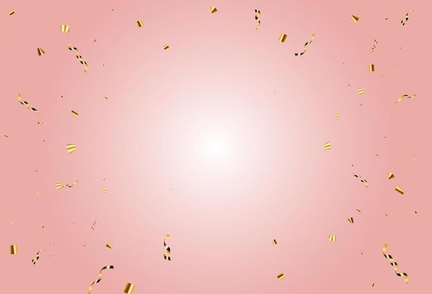 Coriandoli festa e sfondo vacanza nastro d'oro. illustrazione vettoriale eps10