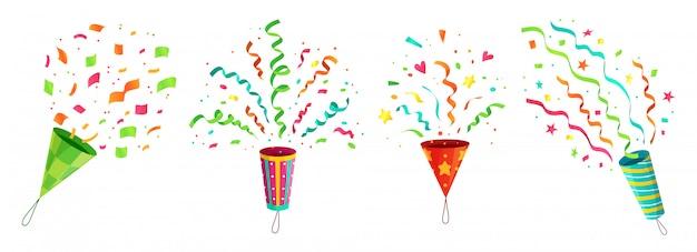 Popper di coriandoli di partito. poppers coriandoli che esplodono festa di compleanno e nastri volanti congratulazioni insieme del fumetto