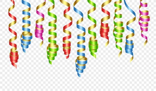 Decorazioni per feste colorate stelle filanti o nastri per feste arricciati. illustrazione vettoriale eps140