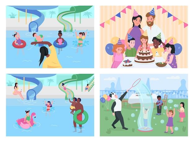 Festa e intrattenimento per bambini set piatto. parco acquatico. famiglia che si diverte con personaggi dei cartoni animati 2d con aree giochi all'aperto e interni domestici
