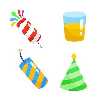 Collezioni di confezioni disegnate a mano di elementi piatti di partito.