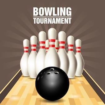 Volantino festa con campo da bowling, birilli e palla da bowling