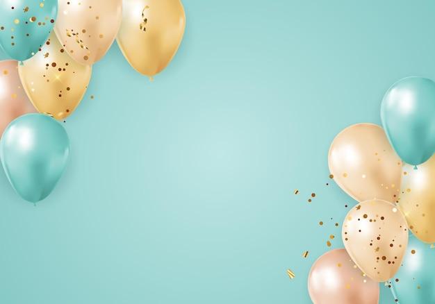 Partito lucido sfondo vacanza con palloncini e coriandoli.