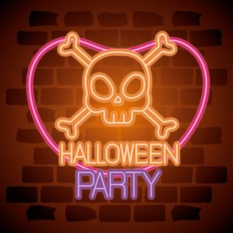 Insegna al neon di halloween del partito con teschio e ossa
