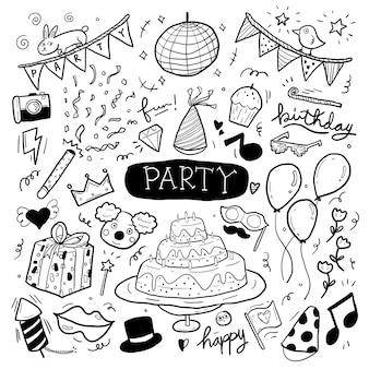 Illustrazione di doodle disegnata a mano del partito