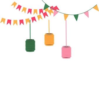 Ghirlande di bandiere di festa di festa con l'illustrazione piana di vettore delle lanterne isolata