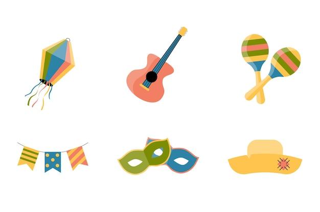 Set di icone del partito per il festival di festa junina.