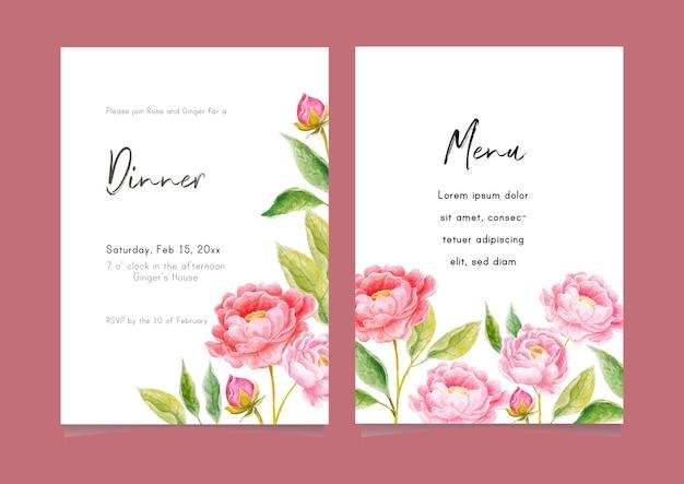 Carta di invito a una festa con grazioso fiore dell'acquerello