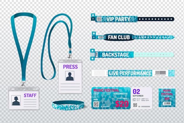 Il partito passa i biglietti del festival il personale preme le carte d'identità i membri del club i braccialetti verdi realistici set tracciato di ritaglio illustrazione