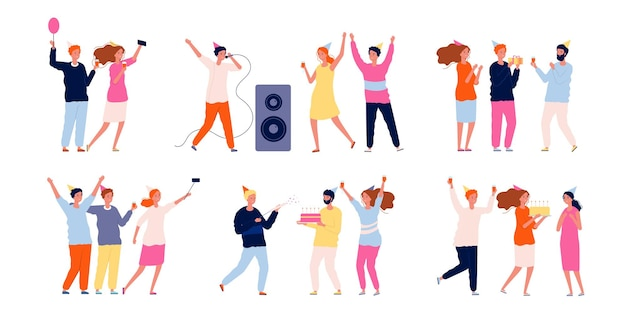 Festaioli. gli amici al compleanno festeggiano ballando giocando e mangiando hanno personaggi divertenti.