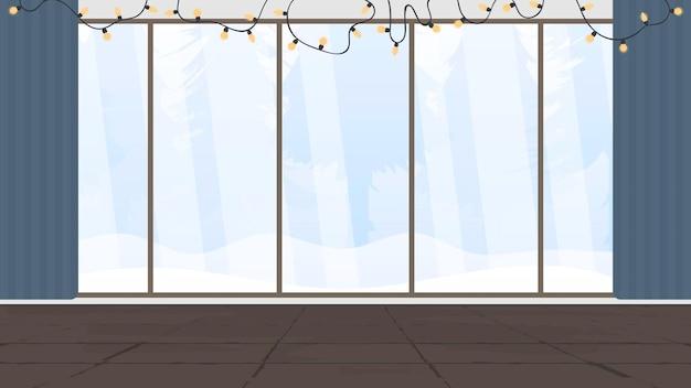Un salone delle feste con un'ampia vetrata panoramica che si affaccia sul bosco