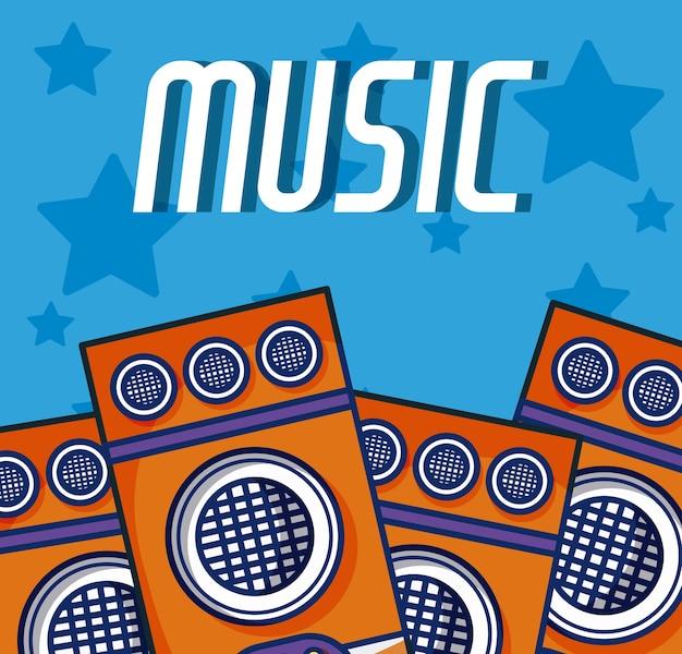 Fumetto degli impianti di musica moderna degli altoparlanti del partito