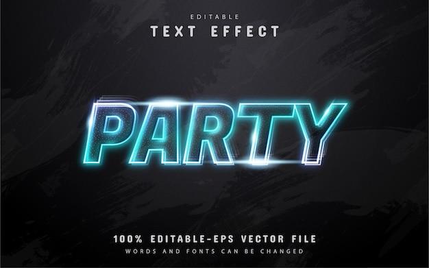 Testo del partito, effetto di testo in stile neon blu