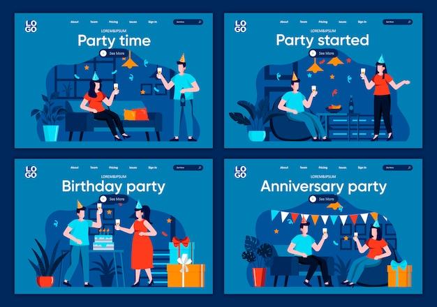 Set di pagine di destinazione piane per la festa. amici che celebrano, si congratulano e presentano regali per siti web o pagine web cms. festa iniziata, anniversario e illustrazione dell'evento di compleanno.