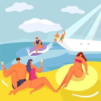 Faccia festa allo yacht, la gente nell'illustrazione di crociera. stile di vita di lusso, personaggio di donna uomo sulla barca all'avventura del mare dei cartoni animati.