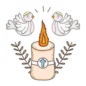 Candela pasquale sacra con uccelli colombe