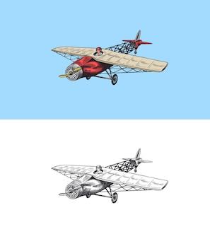Pannocchia dell'aeroplano del passeggero o illustrazione di viaggio dell'aviazione dell'aereo incisa disegnata a mano nel vecchio schizzo