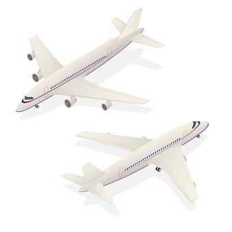 Trasporto isometrico dell'aeroplano del passeggero isolato su cenni storici bianchi. illustrazione