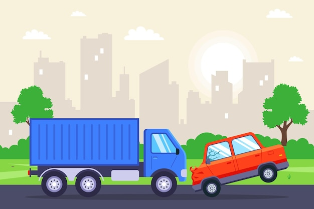 Un'autovettura si è schiantata contro un camion. illustrazione piatta