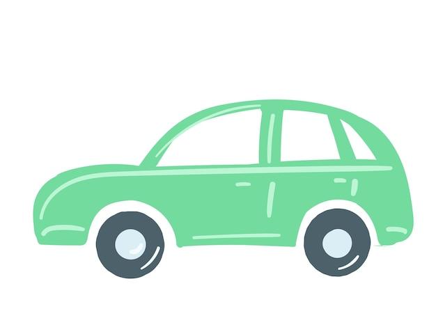 Il colore verde dell'autovettura ha isolato l'illustrazione disegnata a mano di vettore di stile del fumetto dell'elemento di traffico