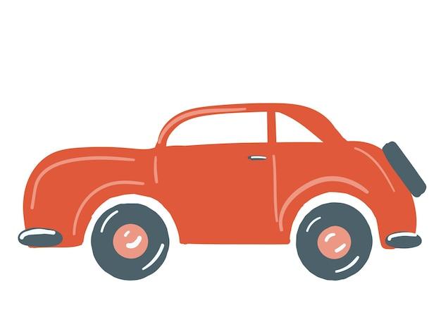 L'autovettura di colore rosso ha isolato l'illustrazione disegnata a mano di vettore di stile del fumetto