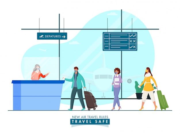 I passeggeri indossano maschere protettive davanti alla reception dell'aeroporto mantenendo la distanza sociale per evitare il coronavirus.
