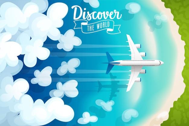 Aereo passeggeri che vola sopra le nuvole e poster di viaggio sulla spiaggia tropicale
