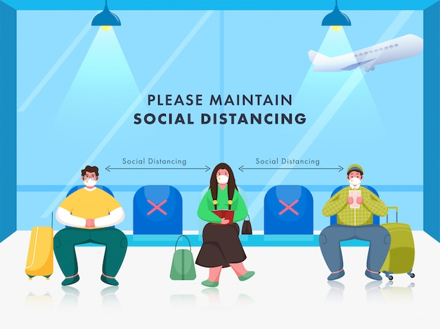 Passeggero indossare maschera medica con mantenimento della distanza sociale in attesa al posto di attesa in aeroporto.