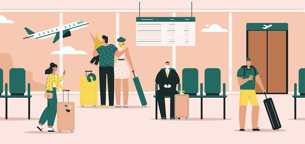 Passeggeri nel terminal dell'aeroporto con bagagli. i viaggiatori con la famiglia guardano fuori dalla finestra in aereo. i turisti in attesa di imbarco in sala