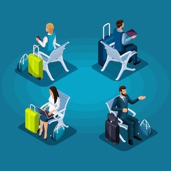 Di passeggeri seduti in sala d'attesa, uomini d'affari con bagagli vista anteriore e posteriore, viaggio d'affari, illustrazione