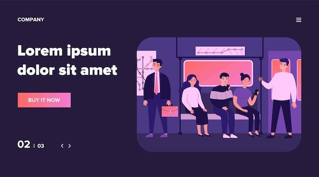 Passeggeri che viaggiano in metropolitana illustrazione. persone sedute nel vagone della metropolitana e utilizzano smartphone durante il viaggio. uomo con corrimano. trasporto pubblico e concetto di treno della metropolitana della città