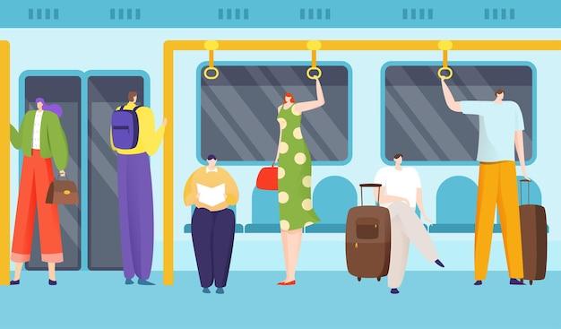 Passeggeri in metropolitana Vettore Premium