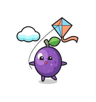 L'illustrazione della mascotte del frutto della passione sta giocando a un aquilone, un design in stile carino per maglietta, adesivo, elemento logo