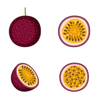 Frutto della passione, frutto intero e metà, su sfondo bianco, illustrazione vettoriale