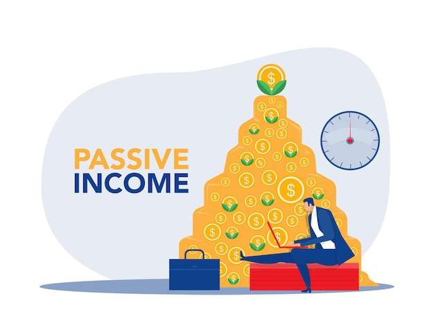 Reddito passivo, l'uomo d'affari fa soldi davanti a un taccuino come sfondo di denaro.illustrazione vettoriale