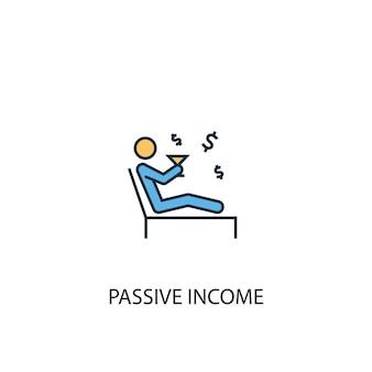 Reddito passivo concetto 2 icona linea colorata. illustrazione semplice dell'elemento giallo e blu. design del simbolo del contorno del concetto di reddito passivo